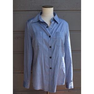 Tory Burch Chambray Stitched Snap button down